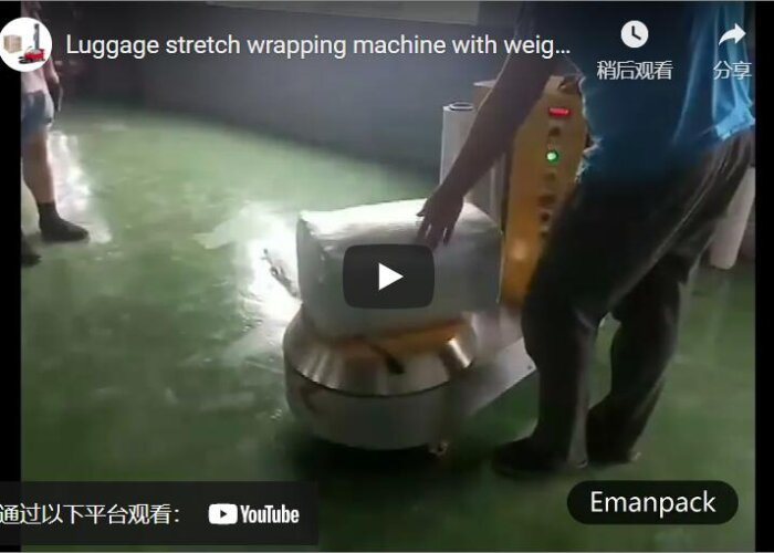 luggage stretch wrapping machine with weighing scale
