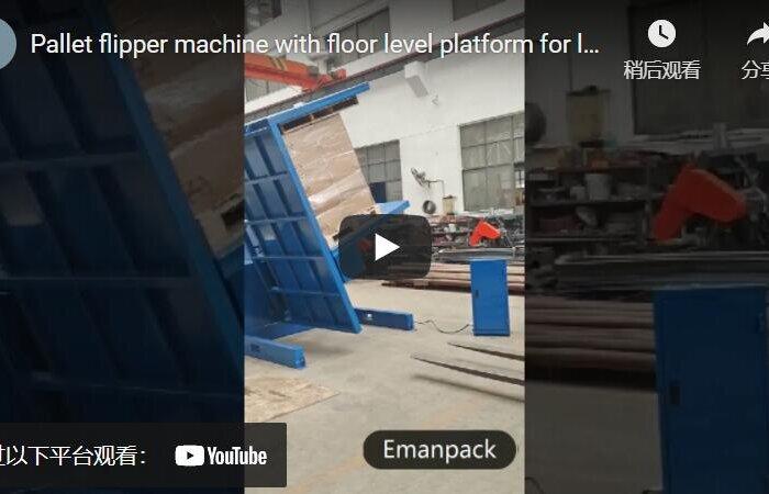 pallet flipper machine loading with ramp