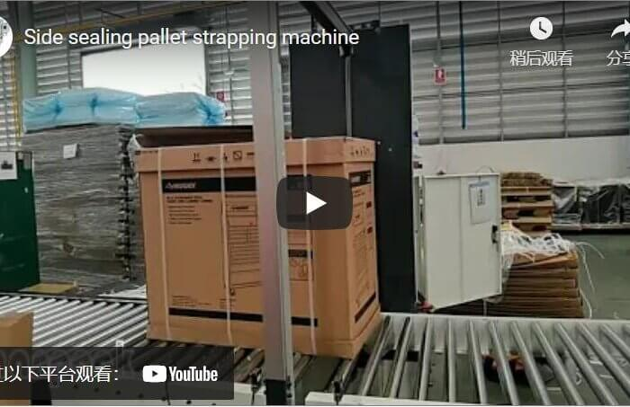 Side sealing strapper packing carton on pallet