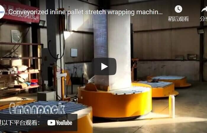conveyorized inline pallet stretch wrap machine