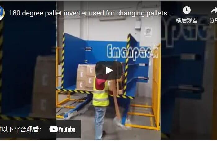 180 degree pallet inverter used for changing pallets and removing freezer spacer