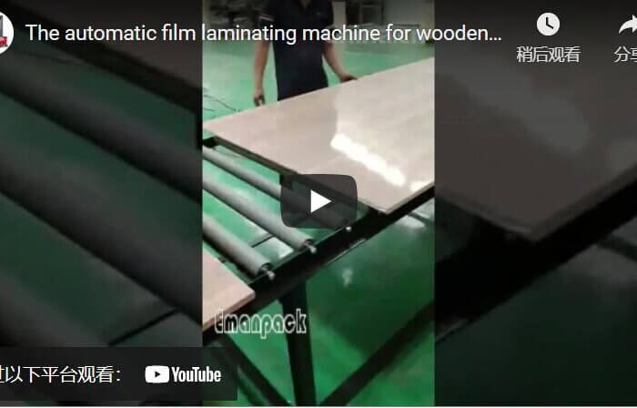 Automatic film laminating machine for wooden panels and MDF plates