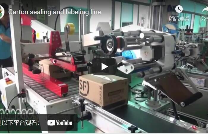 Carton sealer and labeling machine forms the packing line for E-commerce