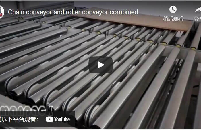 Chain conveyor and roller conveyor combined