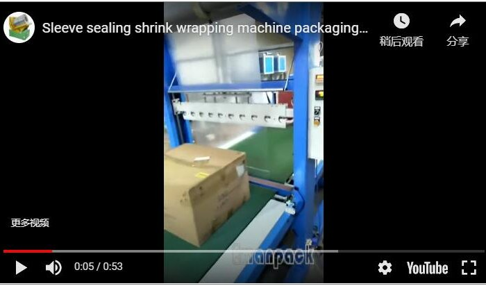 Sleeve sealing shrink wrapping machine packaging cartons and cardboard boxes