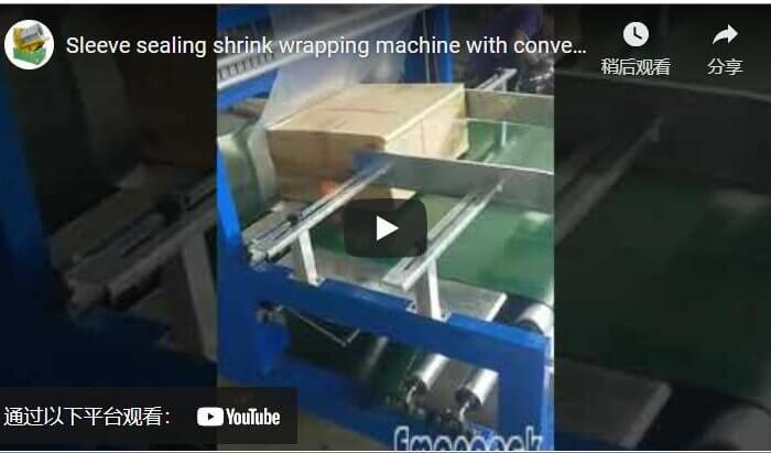 Sleeve sealing shrink wrapping machine with conveyor belt