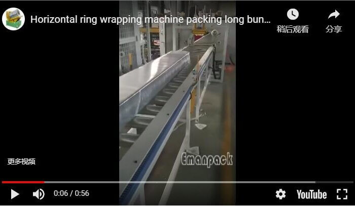 Horizontal ring wrapping machine packing long bundles and rods