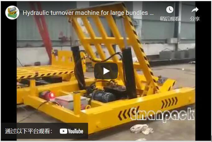 Hydraulic turnover machine for large bundles of panels and boards
