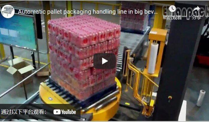 Automatic pallet packaging handling line in big beverage plants