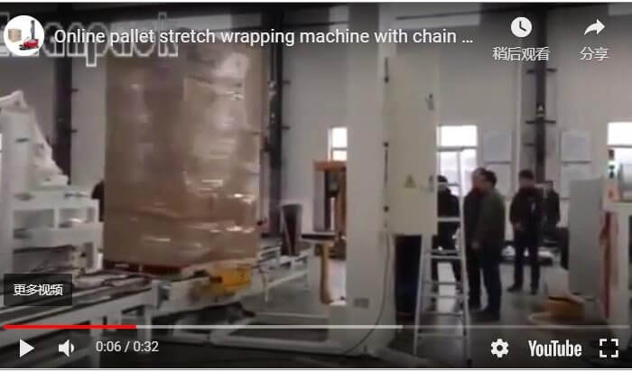 Online pallet stretch wrapping machine with chain conveyors