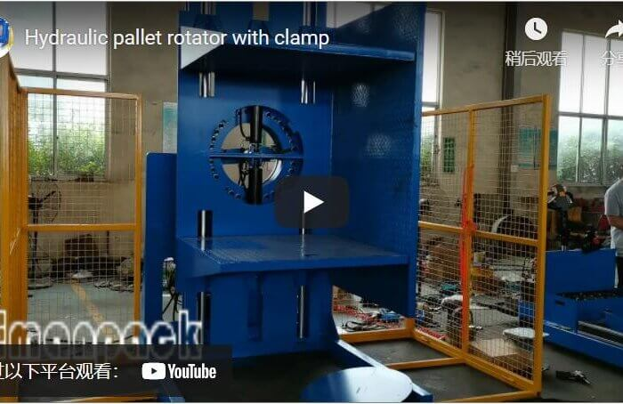 Hydraulic pallet rotator with clamp